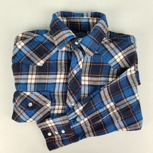d40bf850ae2 Wrangler Men s Pearl Button Front Flannel Shirt M